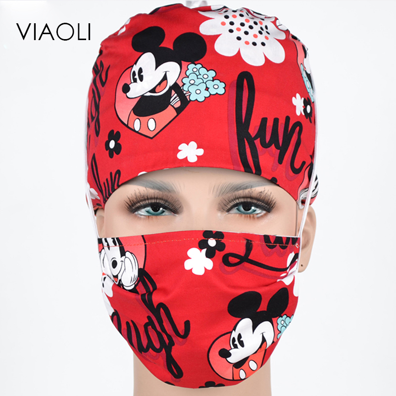 2019 Viaoli New Red Mickey Logo Printing Operating Room Hats Beauty Doctors Work Cap Cotton