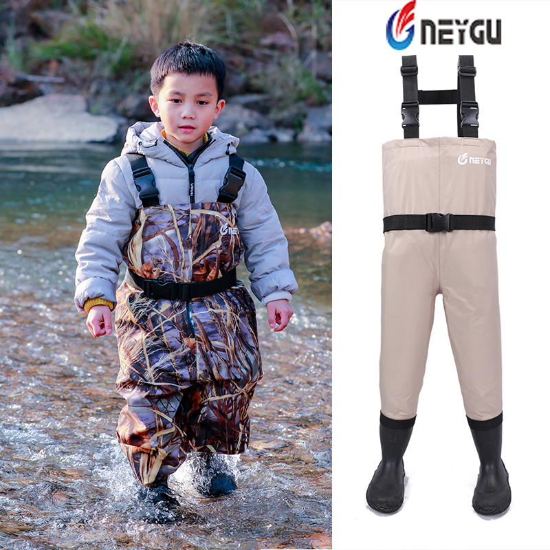 NEYGU Teenager big kid 13T Chest Waterproof breathable Waders fly Fishing Wading pants with Boots for