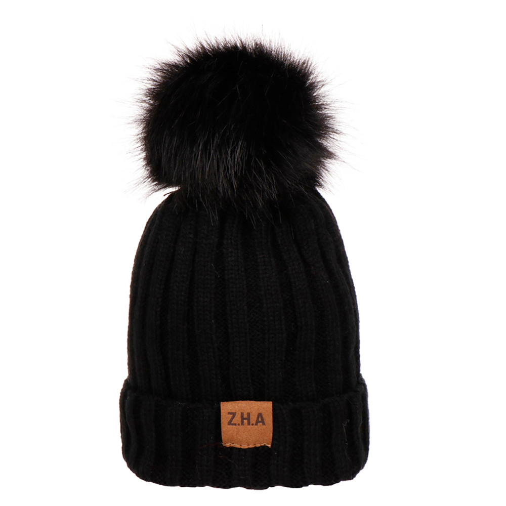 68bc4ef62e3 ... Feitong Winter Warm Hats Baby Boys Girls Solid Color Knit Beanie Hat  Fur Pom Pom Hairball ...