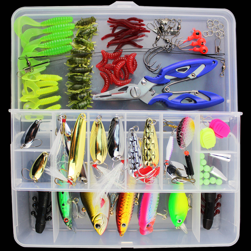 100pcs/Set Minnow Popper Crankbait VIB Spinner Spoon Lure Kit Set Soft Worm Maggot Fishing Lure Hook Pliers Fishing Tackle Box goture 96pcs fishing lure kit minnow popper spinner jig heads offset worms hook swivels metal spoon with fishing tackle box