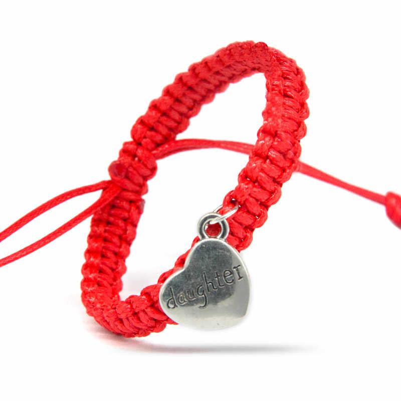 Модные черные, белые, красные браслеты-шармы для мамы и дочки с серебряными словами, цепочка с сердечками, настраиваемый размер, ювелирные изделия, подарки, украшения