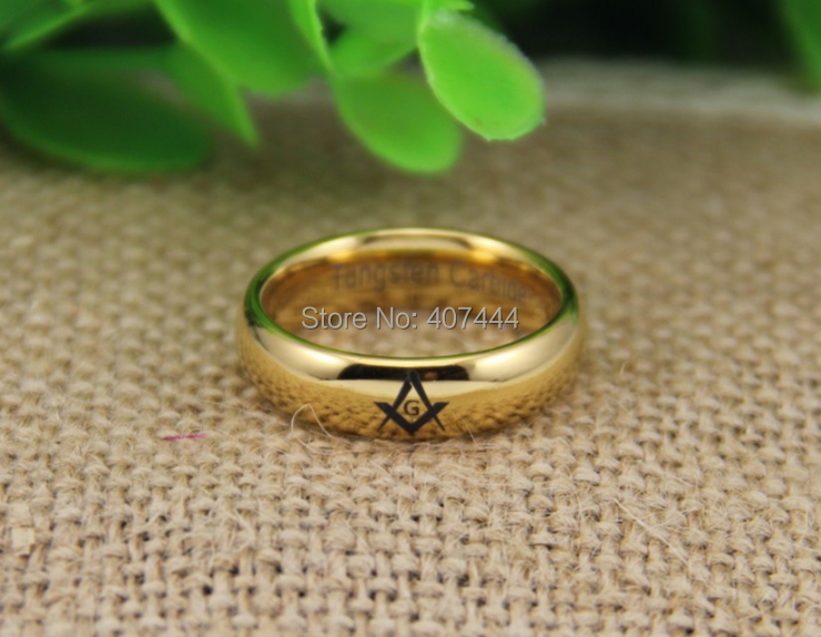 YGK JEWELRY 6MM 8MM Gold Color Dome Masonic Men s Lord Fashion Tungsten Wedding Rings