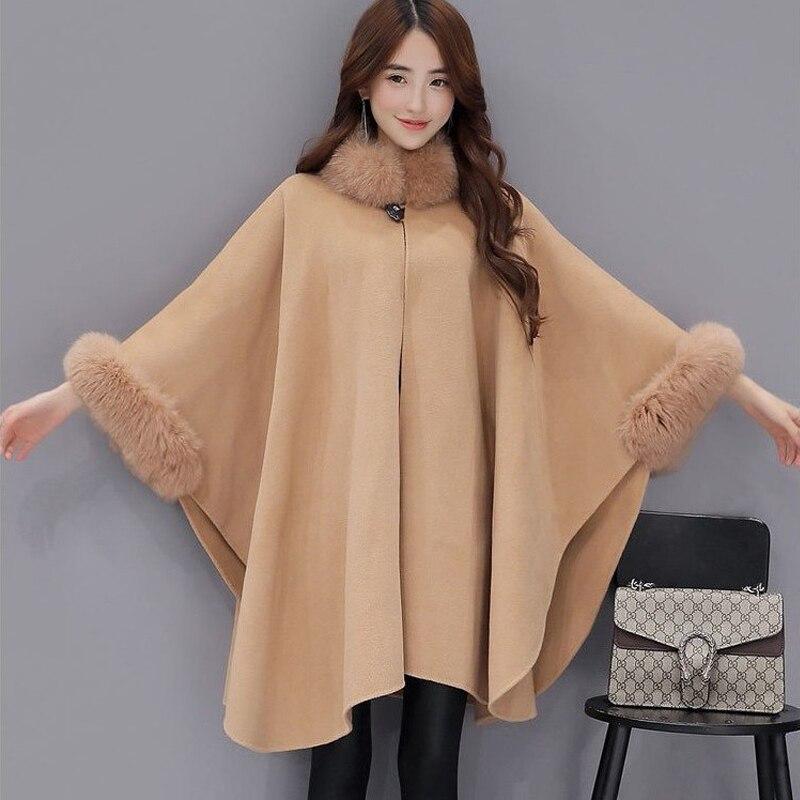 2018 New Autumn Women Coat Winter Fox Fur Collar Wool Coat Women Elegant Cloak Shawl Fashion Plus Size Warm Thick Overcoat