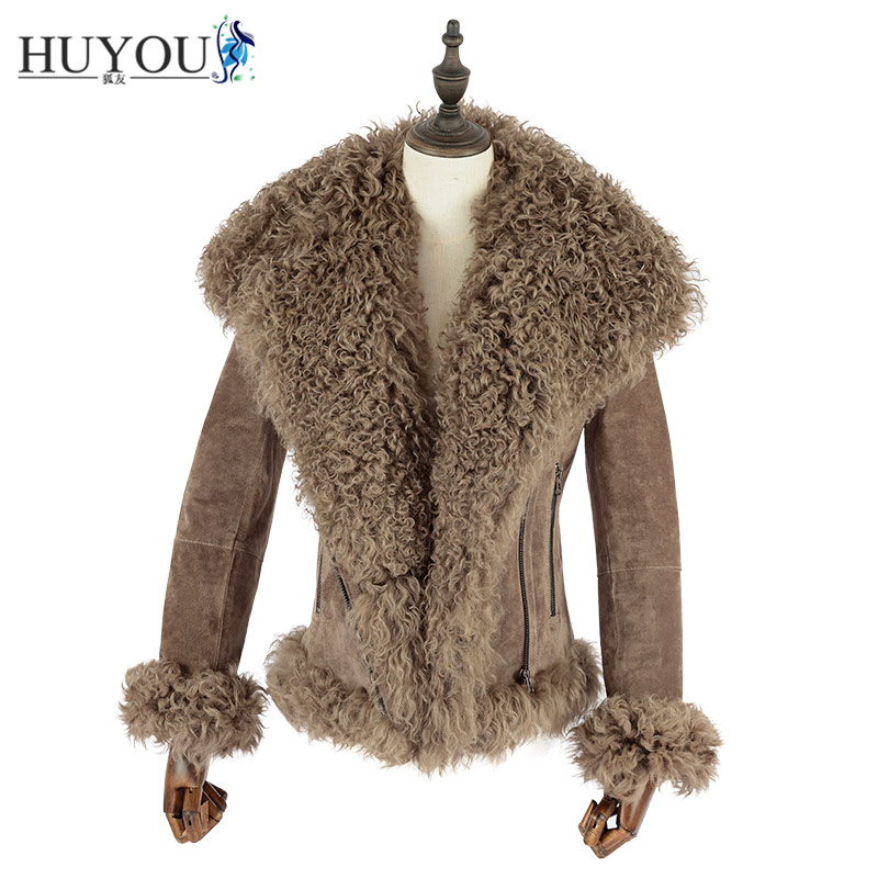 HUYOU 2018 New Women's Casual Pigskin Genuine Lather Fur Jacket With Wool Collar Full Pelt Real Fur Coat Natural Fur JM171174