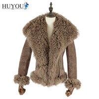 HUYOU 2018 New Women's Casual Pigskin Genuine Lather Fur Jacket With Wool Collar Full Pelt Real Fur Coat Natural Fur JM171174
