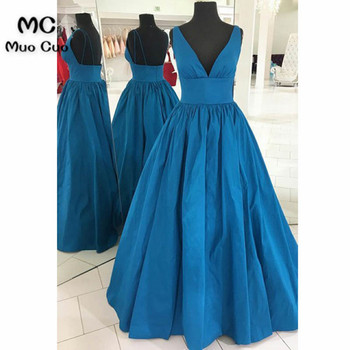 2018 A-Line Prom Dresses Long Deep V-Neck Sweep Train Tank Blue Formal Evening Party Dress for Women Custom Made