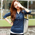 Fashion Korean style 2016 T shirt women v-neck Long sleeve 100% Cotton Tops tee shirt femme Office work wear tshirt plus size