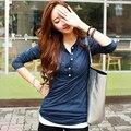 Moda estilo Coreano 2016 T shirt mulheres com decote em v de manga Comprida 100% Topos de algodão t camisa femme trabalho Escritório desgaste tshirt plus size