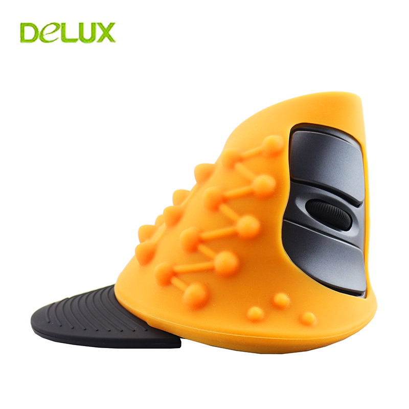 Delux M618 Wireless Mouse Ergonomic Vertical Mouse 1600 DPI USB 10m Right Hand Optical 2.4g Upright Mice for PC Laptop Desktop delux m618 wireless mouse 800 1200 1600 dpi vertical mouse optical grab handle grip mause ergonomic usb computer mice 2 4ghz