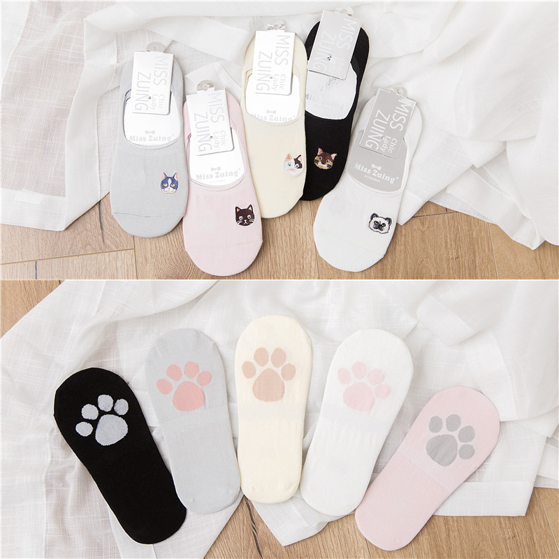 Cat Dog Cat Paw Non-slip Kawaii Cute Women   Socks   Solid Cotton Cartoon Funny   Socks   Girls Invisible Comfortable High   Socks   Cotton