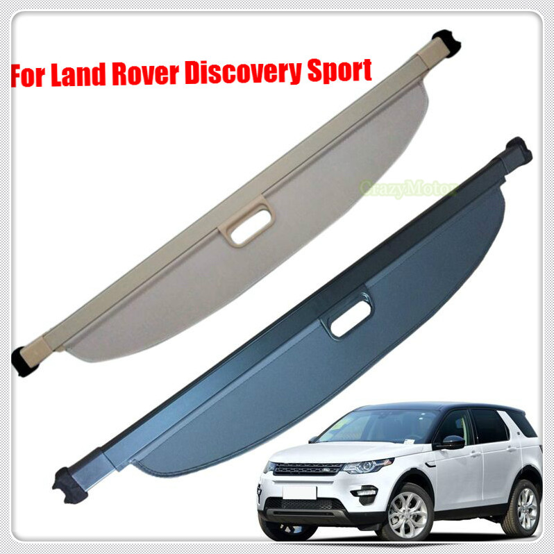 BLACK BEIGE Car Rear Parcel Shelf Cargo Cover Shield For Land Rover Discovery Sport 2015 2016 2017 Auto Accessories car cover car rear trunk security shield shade cargo cover for jeep grand cherokee 2011 2012 2013 2014 2015 2016 2017 2018 black beige