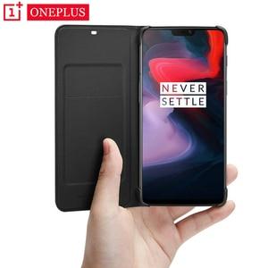 Image 1 - Oneplus 6 T Durumda Flip Akıllı deri kılıf Orijinal Resmi Bir Artı 6 6 T Uyku Uyandırma Kart Yuvası Telefon kılıfları Oneplus6 Geri Çapa