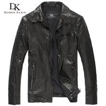 Dusen Klein Motorcycle leather jacket men Brand Genuine sheepskin Autumn/Slim Designer Outerwear leather Coat DK131