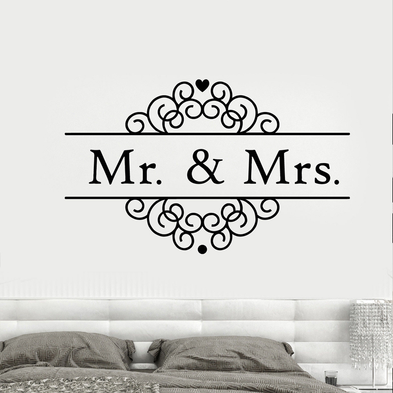 Logo mr mrs personalized name wall stickers for wedding - M r love wallpaper ...