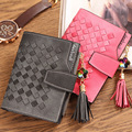 Women Leather Wallet Card Holder Coin Purses Knitting Candy Color Short Style Money Bag For Girls 2016 Portefeuille Femme
