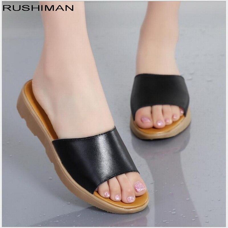 Летние Дамские тапочки сандалии на плоской подошве обувь из натуральной кожи на плоской подошве противоскольжения Дамские Босоножки на ка...