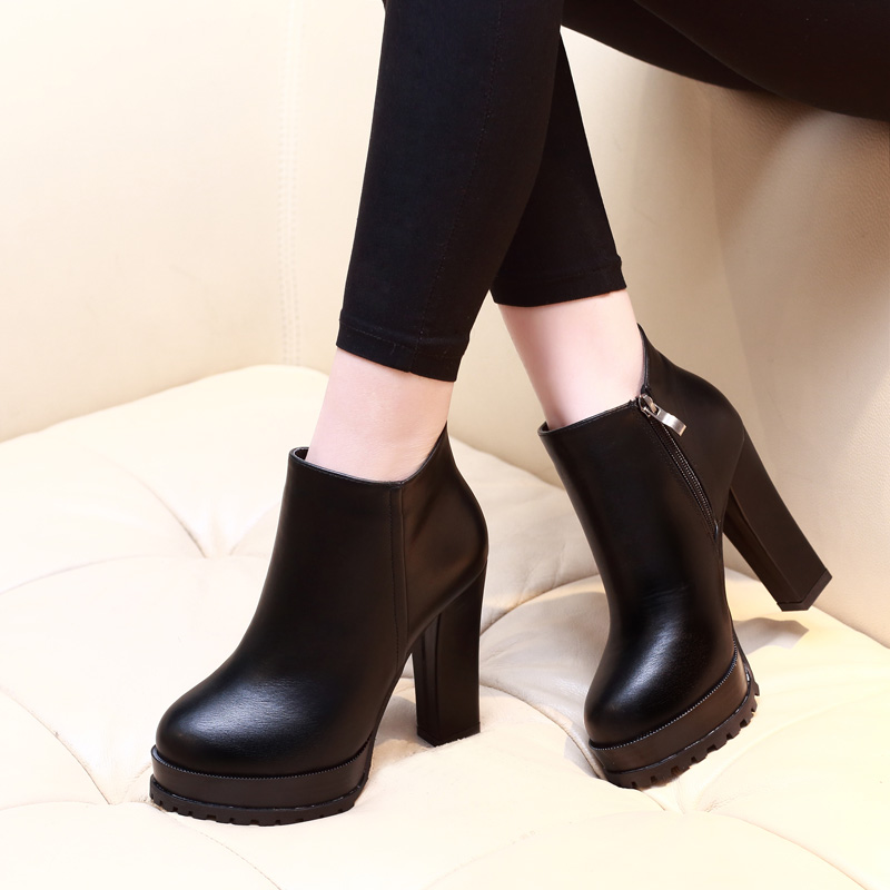 <font><b>2018</b></font> New Fashion Womens Round Toe Soft Leather Ankle Boots <font><b>Sexy</b></font> Stiletto High Heels Women Autumn Boot <font><b>Shoes</b></font> Black CH-A0046 image