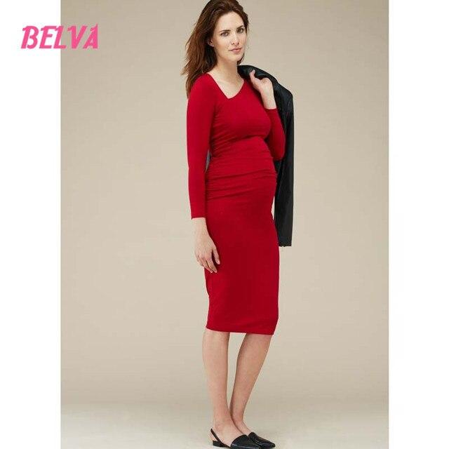 Belva Red Black Oblique Collar Bamboo Blend Maternity Dress Pregnant