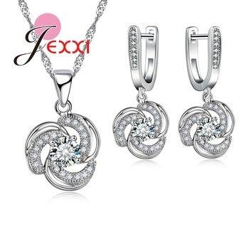 Joyería nupcial de lujo para boda, conjunto para mujer de Plata de Ley 925, collares de flores de cristal, pendientes, conjunto de joyería para mujer