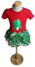 New Childrens Short Sleeve Dots Print Tulle Christmas Xmas TRees New Year Holiday Costume Clothes DRess Gift for Baby Girls