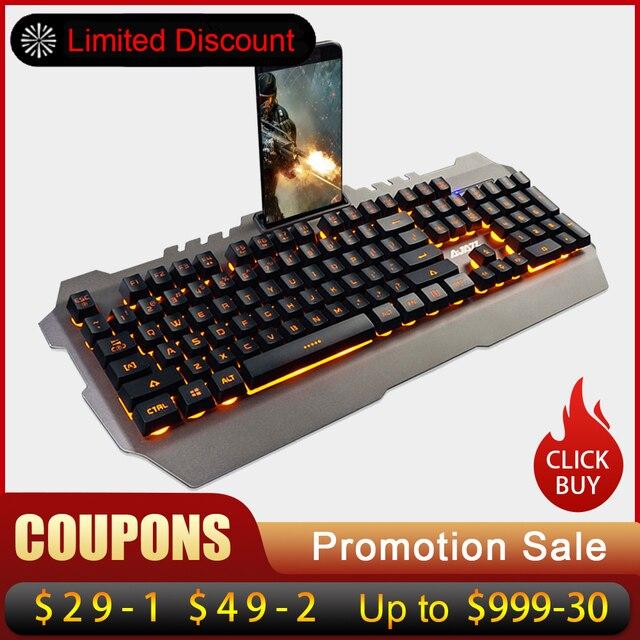 AJAZZ USB Проводная клавиатура Gaming механическая клавиатура желтый Подсветка водостойкий сплав панель 104 ключей для игр клавиатуры