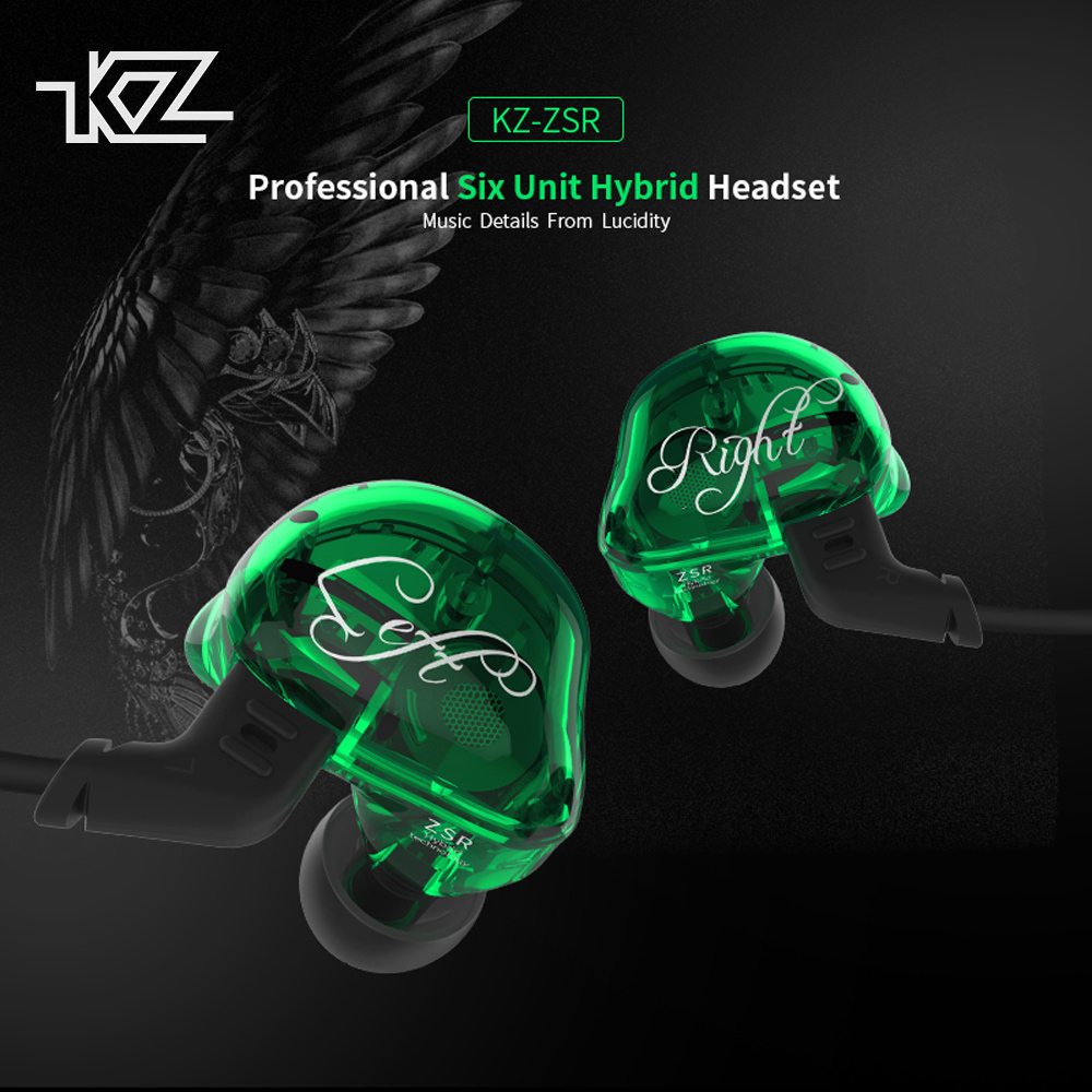 KZ ZSR Six Drivers Headphones Ear-Hook Earphone Armature And Dynamic Hybrid Headset HIFI Bass With Replaced Cable Earbuds