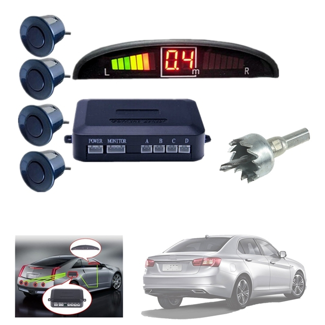 Car Parktronic LED Display Car Reverse Backup Radar Kit Sound Alert + 4 Parking Sensors Radar Monitor Detector System