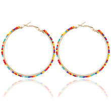 Bohemia Bon Bon Ball Multicolor Beads Earrings Exaggerated Circle Earrings Jewelry For Women Wedding Gift Explosion Models