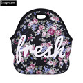 free shipping fresh rose flower handbags Thermal Insulated Neoprene Lunch Bag Women Kids Lunchbags Cooler  Insulation Lunch Box