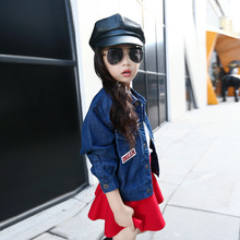 Children Jean Jacket Fashion Girls Denim Outerwear Windbreaker Teenage Girl Long-Sleeve casual Spring cotton Coat For Girl