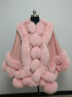 Drop shipping Free shipping double twisted fox fur trim cashmere poncho for lady