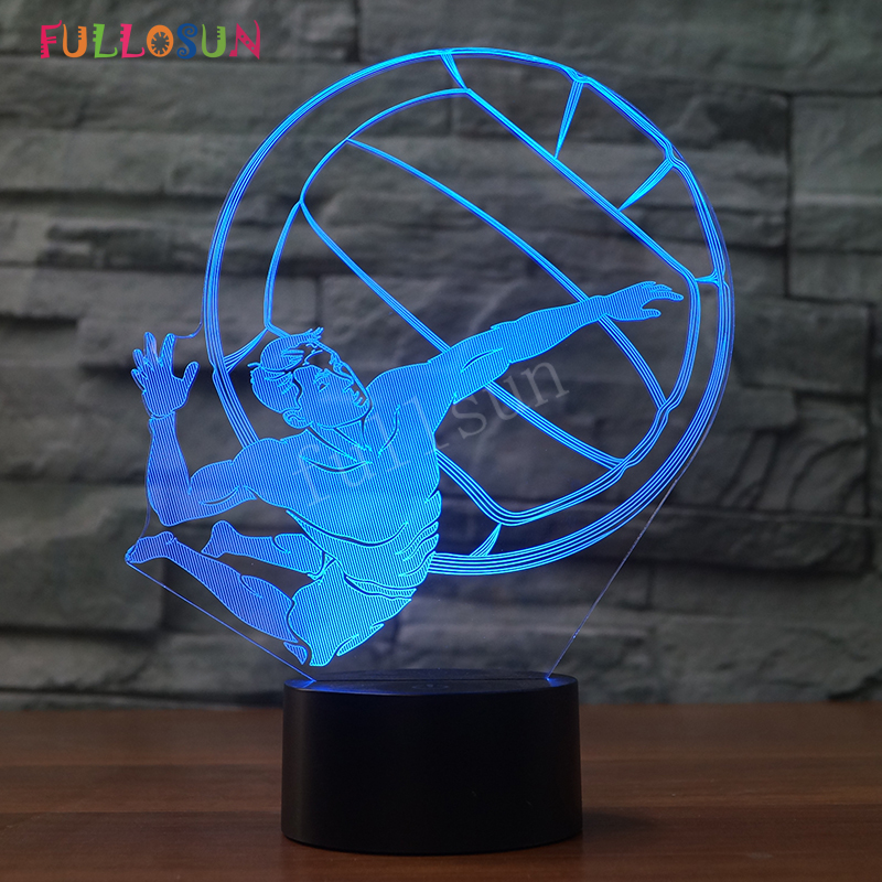 Novelty Lamp Sports Volleyball 3D Optical Illusion Lamp Baby Night Light 7 Colors Projector LED Sensor Lights ...