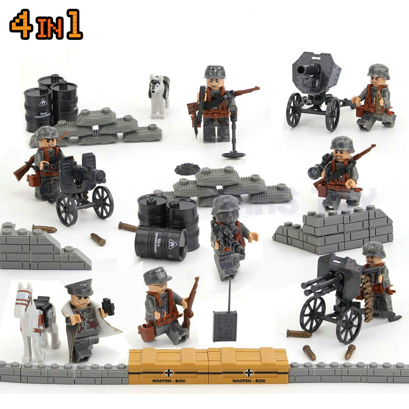 Germany Military Soldiers LegoINGlys Action Figures Swat Team Guns Weapon City Army Sets WW2 Blocks Toys World War II