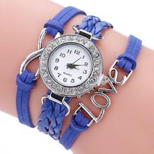 Women Wristwatch Bracelets Fashion Womens Infinity Love Hand-knitted Faux Leather Chain Quartz Watch Bracelet Watches dress Saat