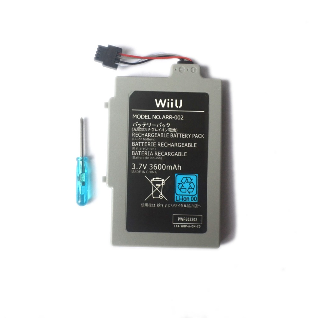 3.7V 1500mAh 3600mAh Rechargeable Battery for Nintendo U Wii WiiU GamePad Controller Joystick Replacement Repair Part Free Tool