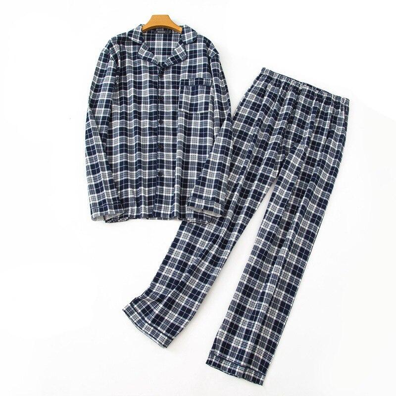 Europe Size Spring/winter Men's Pajamas Set Long Sleeves Nice Cotton Pyjama Check