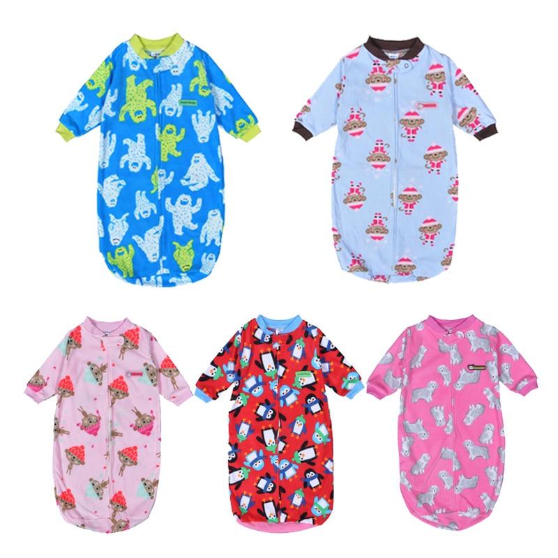 Baby Sleeping Bag Autumn Winter Cartoon Animal Long Sleeve Fleece Romper Sleepper Newborn Sleep Sack Clothes 0-9M