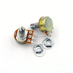 5PCS/LOT WH148 B10K 10K Linear Potentiometer 15mm Shaft With Nuts And Washers Single Joint 3 pin Knob Switch Potentiometers