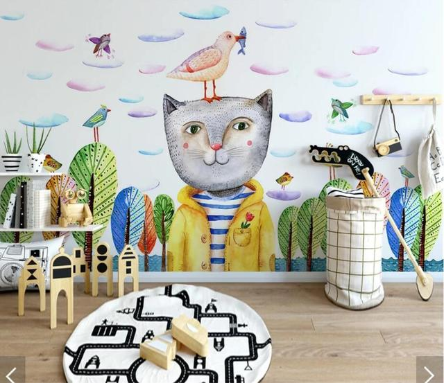 Carton Cat Wallpaper Murals For Kids Living Room Art Wall Decals Contact Paper Roll Animal Photo Papers