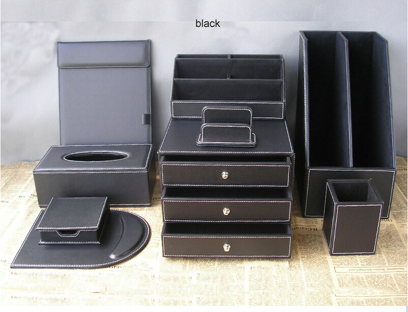 9pcsset office leather desk organizer set 2grid file stand 3drawer file cabinet stationery holder - Small Filing Cabinet