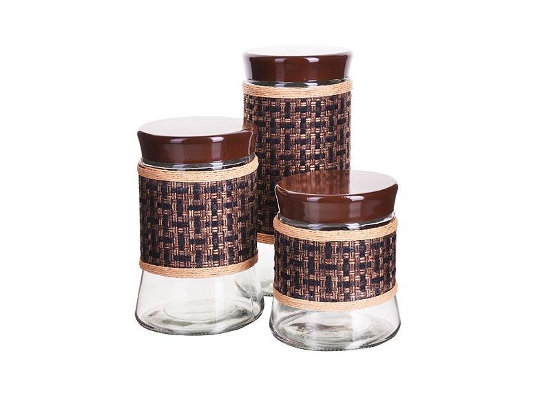 Набор банок для сыпучих продуктов MAYER & BOCH, 3 предмета, коричневый набор банок для сыпучих продуктов rosenberg 3 предмета