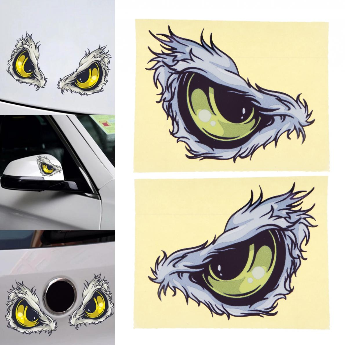 2pcs 3D 10 x 8CM Reflective Material Strong Adhesion Eye Pattern Creative Funny Stereoscopic Car Sticker Accessories ...