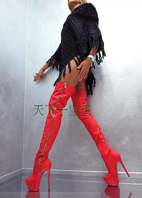 Hot Sale Shoes Women Round Toe Black Red Leather Boots Thigh High Boots Ladies High Heels Cowboy Boots Over The Knee Long Boots hot sale fashion long boots for women nubuck leather sexy high heels over the knee boots shoes ladies platform boots cn a0012
