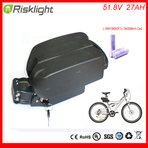 new arrival 52v e-bike battery pack li-ion ebike 51.8V 27AH Frog akku lighitum battery for electric bicycle kit  For LG Cell 48v 34ah triangle lithium battery 48v ebike battery 48v 1000w li ion battery pack for electric bicycle for lg 18650 cell