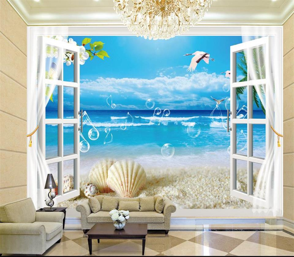 Custom 3d photo wallpaper room mural window out sea music for Vue de ma fenetre