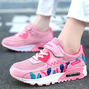 Image 2 - Sports Running Shoes Kids Girls Sneakers Teenager Trainers Breathable Casual Outdoor Tennis Shoes Girl Black Pink Big Size 37 38