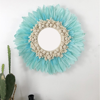 Creative Handmade Tapestry Feather Glass Mirror Art Decoration Round Mirror Living Room Wall Wall Hanging Mirror R1640