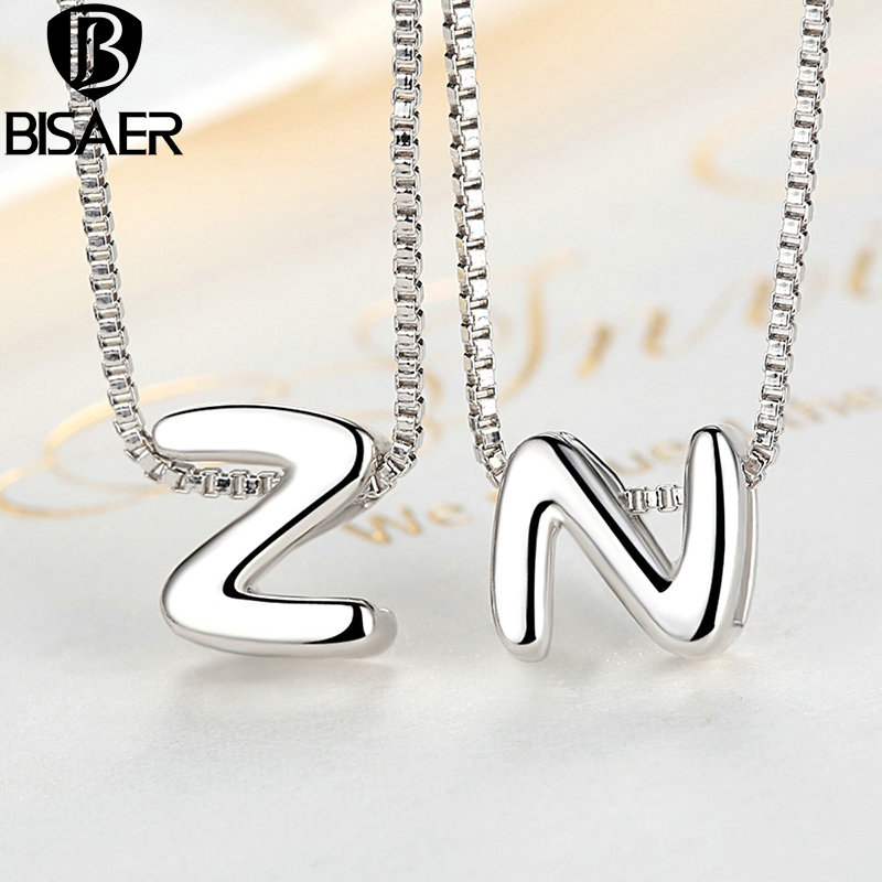 BISAER Brand Fashion Jewelry BISAER Fashion DIY Women Pendants ZN Letter Names Pendant Charms 925 Sterling Silver Jewelry Chain Necklaces Pendants Silver