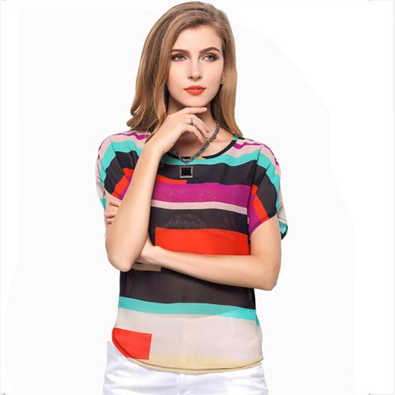 2017 Summer Ladies Striped Top Chiffon   Shirts     Blouse   Women Sheer Cheap Clothes China Femininas Camisas Clothing Female Plus Size
