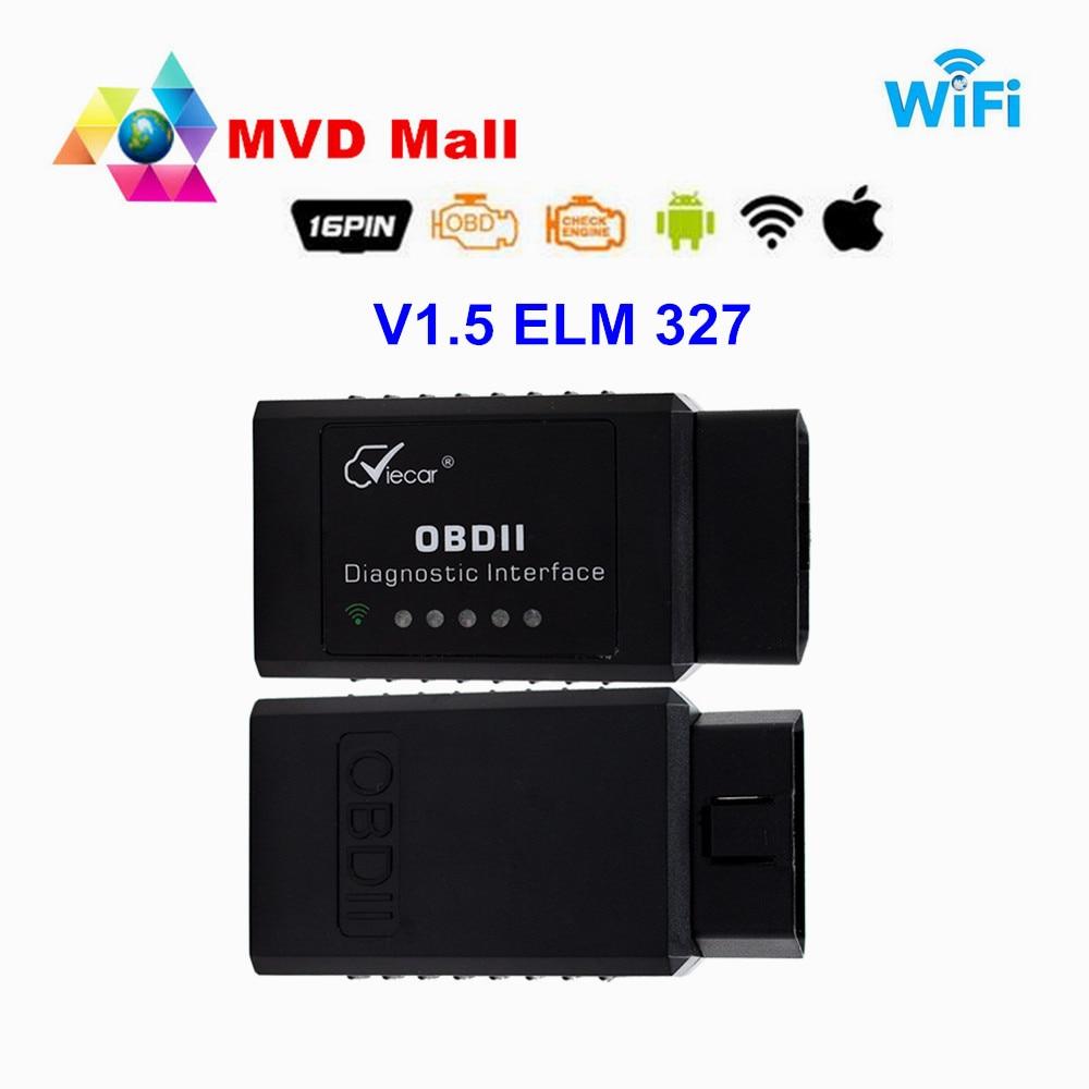 Prix pour NEW Super MINI V1.5 Matériel Noir ELM327 WIFI Fonctionne Sur Android Couple/iOS/PC ELM 327 V1.5 WI-FI prend en charge Tous Les Protocoles OBD2